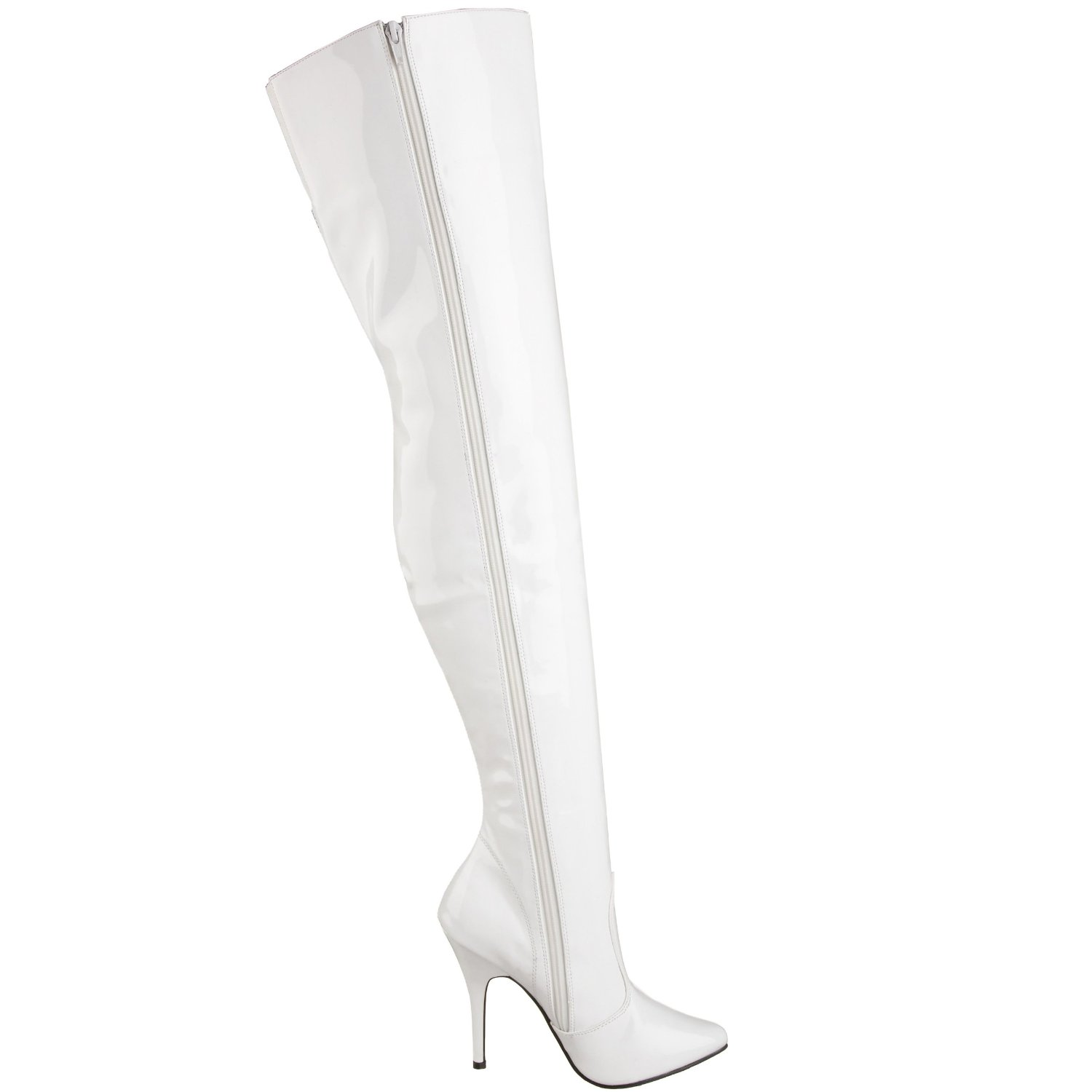 White Leather Thigh High Boots - Yu Boots