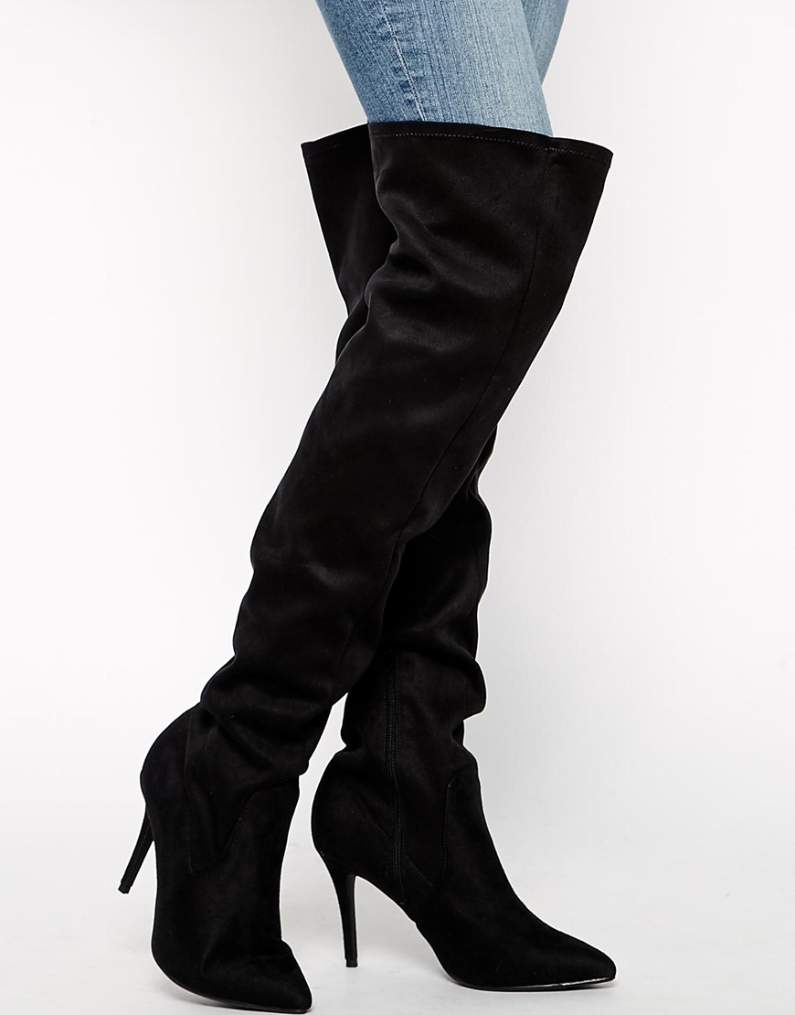 Black Over The Knee Heel Boots - Cr Boot